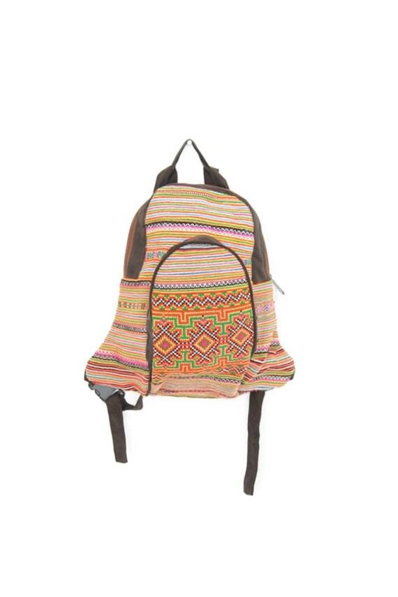 Orange Backpack Book Bag Handmade HMONG Vintage Fabric Fair Trade Thailand (BG521.1)