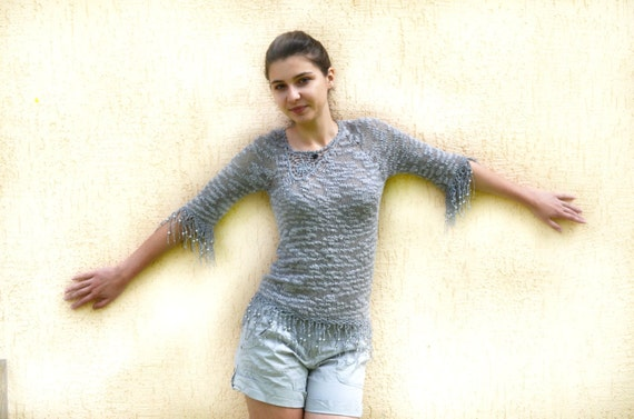Hand Knit Sweater from cotton yarn/Eco Cotton sweater Grey, gray sweater ,modern fashion,  Ready to Ship