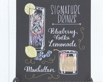 "Signature drink menu, 11""x14"" art board, custom ink drawing by hand"