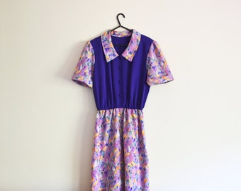 Purple Dress - 70s, floral, indigo, colour block, medium, Aus 12/ US 8 - 10/ UK 10/ Euro 38