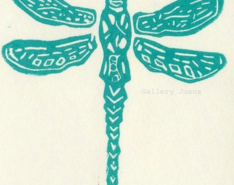 Dragonfly II, hand-pulled linocut print on Shiramine rice paper, small art work