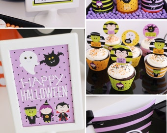 HALLOWEEN Printable Set - Trick or Treat cupcake toppers, favor tags, party signs, bag toppers