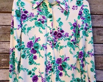 1960's 'Sears' Cream with Purple and Green Flowers Button Down Shirt