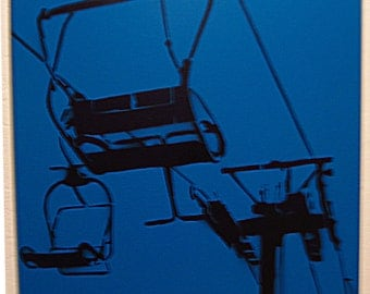 Chair Lift on Blue - Spray paint stencil modern art - simple design