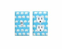 Baby Blue Elephant Light Switch Plate & Outlet Cover SET OF 2 / Baby Boy Safari Nursery Decor / Kids Room Playroom / Tiny Tip Top Fabric