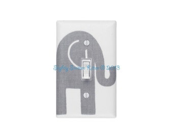Elephant Nursery Decor / Gray and White Light Switch Plate / Baby Gender Neutral Ele Premier Prints Storm Twill Slightly Smitten Kitten