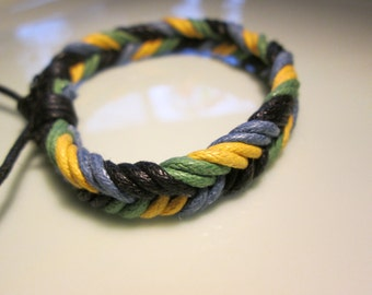 bracelet  new HANDMADE woven  -primary colors right off the European runways