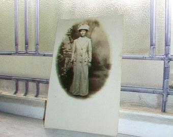 Vintage Photograph Postcard Victorian Woman Big Hat RPPC
