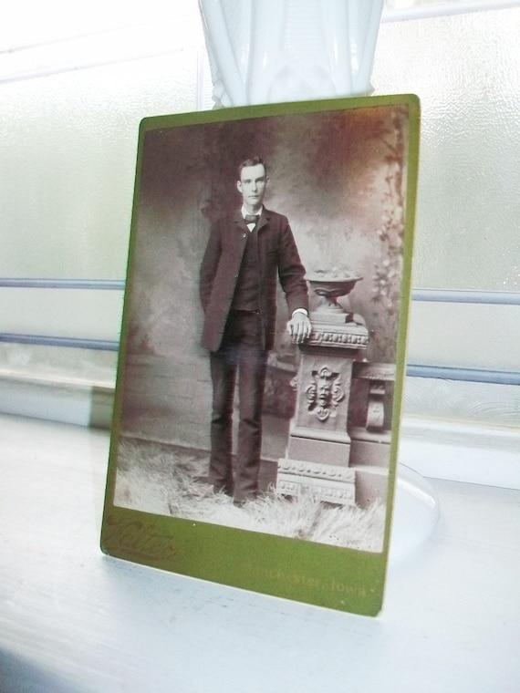 "1800s Cabinet Card Photograph of a Tall Edwardian Man 6 1/2"" x 4 1/4"""
