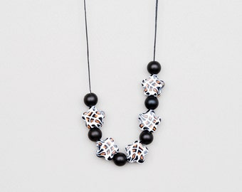 Giraffe Necklace, Animal Print Necklace, Black And White Necklace