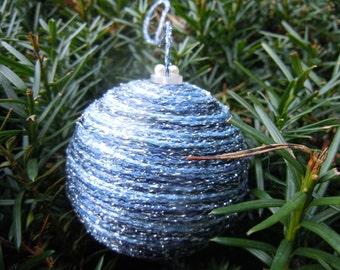 50 shades of Blue sparkly yarn ornaments