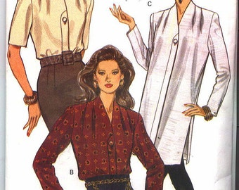 1993 New VOGUE BLOUSE PATTERN 8760 Size 6-10 Misses with  Sleeve Variations Uncut Factory Folded