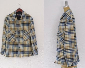 Vintage Pendleton Plaid Coat Pendleton Wool Coat Overcoat Pendleton Mens Plaid Coat XL