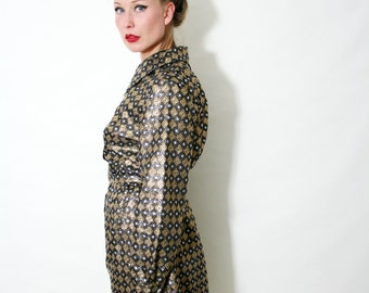 Vintage 60s Metallic Silver and Gold Brocade Long Sleeve Belted Dress Size XL