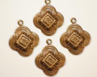 ON SALE! 20% OFF! Fancy Clover Drops - Vintage Patina Trinity Brass