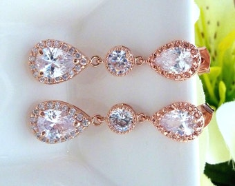 Bridal Earrings - High Quality Halo Rose Gold Plated Peardrop Cubic Zirconia with Round CZ Drop with Gold Plated Peardrop CZ Post Earrings