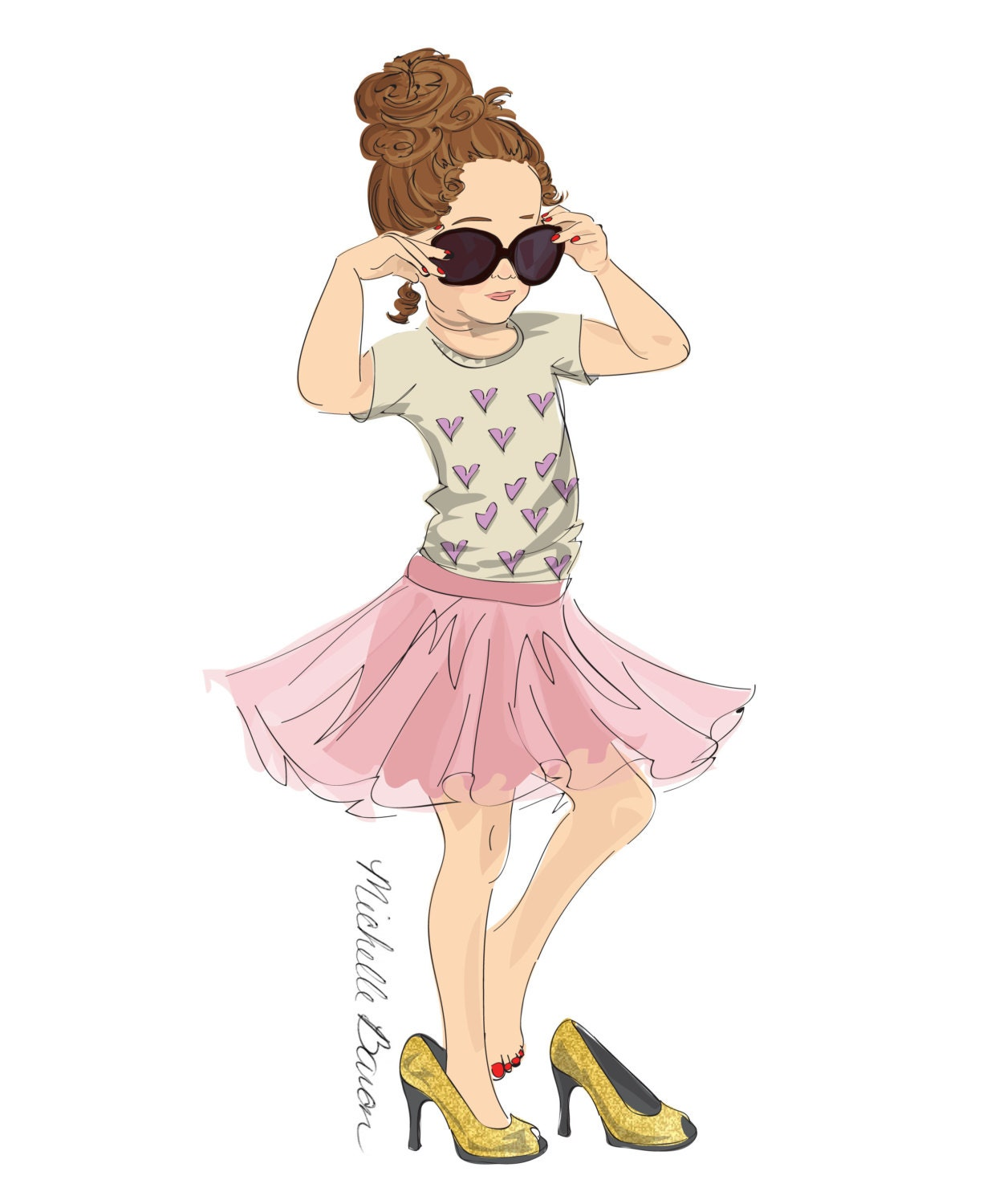 Children's Fashion Illustration Print with a little girl