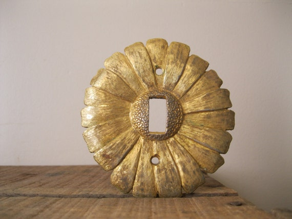 Vintage Brass Sunflower Light Switch Cover