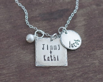 Hand Stamped Family Name Necklace- Personalized Sterling Silver Charm Necklace