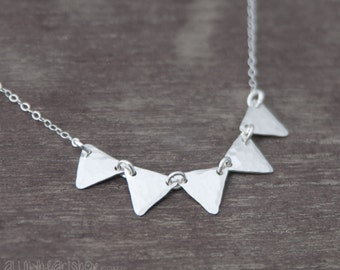 Triangle Bunting Silver Necklace - Five Triangles Geometric Jewelry