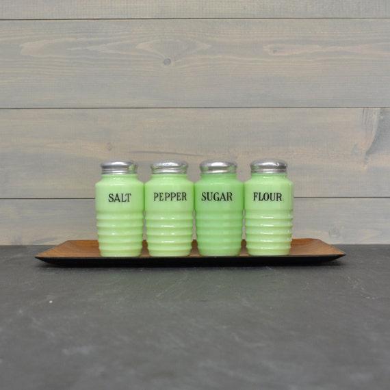 Vintage Jadeite Shaker Set - Salt, Pepper, Sugar and Flour Shakers - Jeannette Jadite Glass - Vintage Kitchen - Beehive Shape