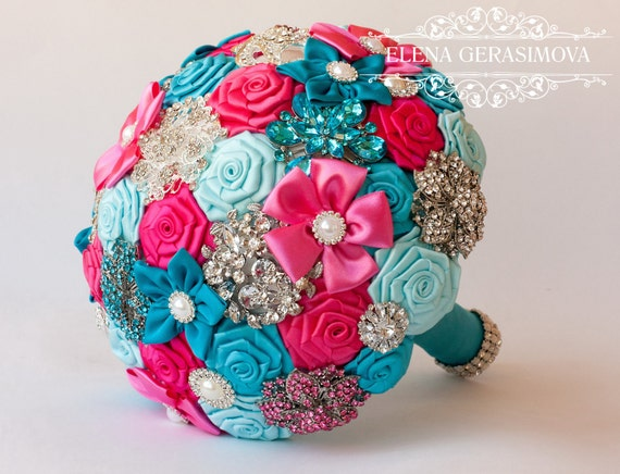 Turquoise Fuchsia Wedding: Brooch Bouquet Turquoise Blue Hot Pink Fabric Wedding