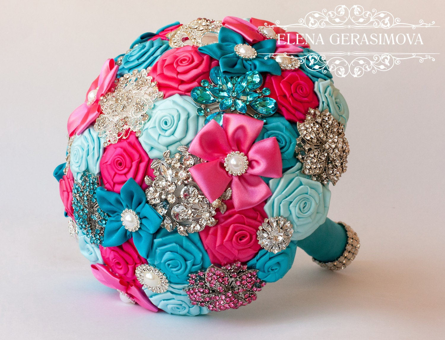 Brooch Bouquet Turquoise Blue Hot Pink Fabric Wedding