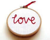 Love Hand Embroidered Hoop Art  Christmas Decoration