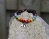 Yogi inspired wood bead rainbow chakra mala bracelet with lotus flower or tree of life or buddha head charm bead for men or women