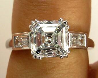 GIA  VVS2..Art Deco 2.40ct Antique Vintage Asscher, Square Emerald Cut Diamond Engagement Ring in PLATINUM, Circa1920-30s
