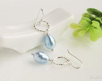 Small Hoop Pearl Earrings
