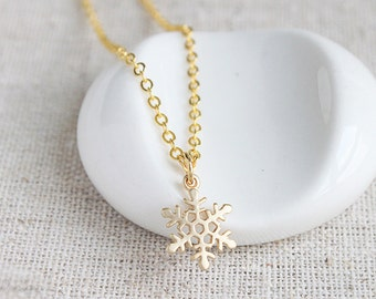 Snowflake Necklace, Whimsical Nature Inspired Gold Jewelry, Christmas Gifts, Stocking Stuffers, Unique Necklace