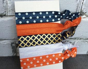 Illinois elastic hair ties, Fighting Illini, Set of 5 elastic hair ties, Girls hair ties, Ponytail holders, Soft Hair Ties, Navy and orange