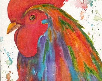 Vibrant Rooster  Abstract  Watercolor  Painting Original Fine Art  Contemporary Kitchen Home Decor by ebsq Artist Ricky Martin FREE SHIPPING