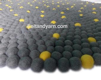 Yellow dot Grey felt ball rug, Felt ball rugs, Handmade felted pom pom rug, Free delivery