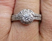 Sale...Estate Antique HALO  14KT white gold & Diamond engagement ring 50 point center 85 total weight