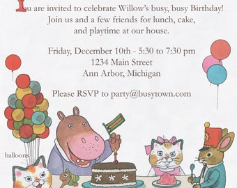 Digital Richard Scarry Busytown Birthday Invitation - 7 x 5
