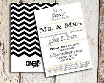 His and Her Shower Invitation Chevron Back