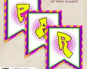 Graphic Design - 90's Theme Party - Banner - DIY Printable, Graffiti, Neon, Dots, Pink, Purple, Yellow, Orange, Black, Blue, Turquoise