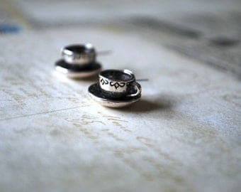 Teacup Earrings -- Tea Time, Silver Tea cup and Saucer, Coffee Cup Earrings