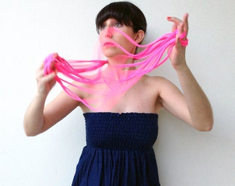 The braided noodle - handmade in neon fabric