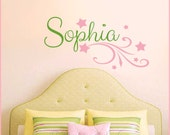 Personalized Girl's Name with Stars Vinyl Wall Decal Set, Baby Nursery, Girl's Room, Teens Tweens NM-128