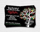 Bob Marley Baby Shower Invitation - 5x7 - Rasta - Love Birds - One Love One Heart - Red, Green, Yellow-  Digital Printable File - Cardstock