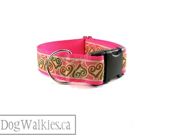 "Twin Hearts - Valentine Dog Collar - 1.5"" (38mm) Wide - Wide Martingale or Side Release Buckle // Neon Pink // Tan // Green // Rust"