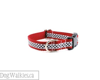 "SALE - Black and Red Houndstooth Dog Collar - 3/4"" (25mm) Wide - Quick Release Buckle or Martingale - Choice of collar style and size"