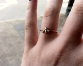 Tiny Little Bumblebee 14k Gold Fill Stacking Ring - Brass on Yellow or Rose Gold - custom made to order