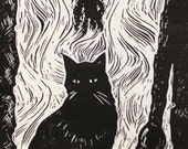 The WItches Cat original Linocut print in black and white