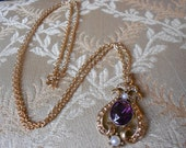 Vintage amethyst and pearl necklace.  Avon.