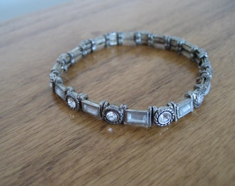 Vintage silver rhinestone bracelet.  Victorian. Elastic.