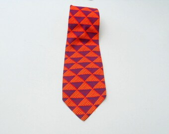 Vintage Tie Men's Necktie Bright Geometric Wide Tie Lord & Taylor John Weitz